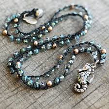 crochet beading necklace images Crochet beaded seahorse necklace n1366 sweet romance jpg