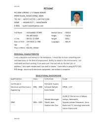 Example Resume For Job 100 Sample Resume Empty Biodata Form Template For