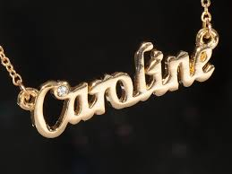 s necklace with names caroline name necklace with rhinestone gold or silver tone ebay