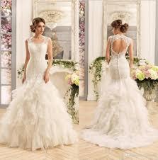 2017 new gorgeous lace mermaid wedding dresses cascading ruffles
