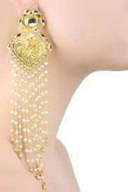 ra abta presents gold plated temple motif jhalar earrings