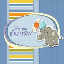 baby boy birthday card with elephant royalty free stock photo