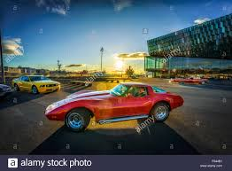 vintage corvette red chevrolet vintage corvette reykjavik iceland stock photo