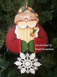hand painted santa ornament by stephskeepsakes on etsy 7 50