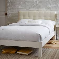 low grid tufted leather bed ivory west elm