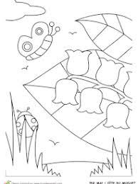 Coloriage 1er mai et brins de muguet sur Hugolescargotcom