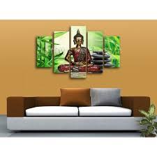 Buddha Home Decor Huge Canvas Print Feng Shui Zen Art Buddha Bamboo Interior Home