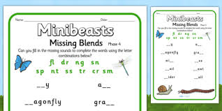 phase 4 missing sounds worksheet minibeasts phase 4