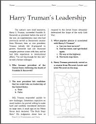 harry truman u0027s leadership reading with questions