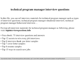 Technical Program Manager Resume Technical Program Manager Interview Questions