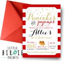 pancakes and pajamas invitation sleepover invitation