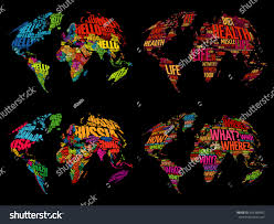 World Map With Names Of Countries by Set Infographic World Word Cloud Maps Stock Vector 453389482
