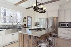 Reclaimed Wood Kitchen Island Kitchen Sink Faucets Kitchen Transitional With Wood Floor