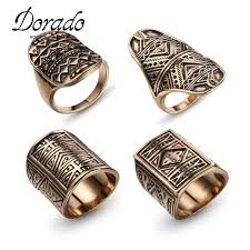 antique gold rings images Buy 4 pieces lot rings for women men antique gold jpg