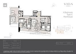 Pent House Floor Plan by Residences 4 Bedroom Penthouse Type C Floor Plan