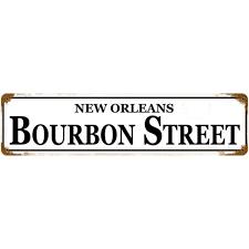 bourbon sign vintage new orleans bourbon metal bar sign