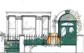 illustration of small front garden to victorian house hand drawn
