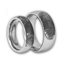 couples custom engraved tungsten fingerprint rings his and