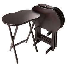Sturdy Table Amazon Com Winsome Skippy 5 Piece Tv Table Set Peanut Top