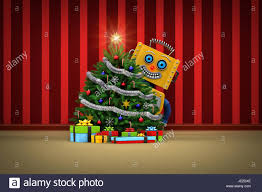 yellow toy robot standing behind a nicely decorated christmas tree