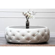 Glass Ottoman Coffee Table Living Ivory Tufted Leather Coffee Table