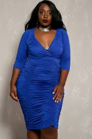 royal blue short sleeve v neck rouged plus size party dress