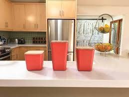 Kitchen Counter Canisters Bamboo Fiber Kitchen Canister 3 Piece Set With Airtight Bamboo Lid