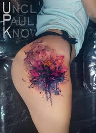 awesome watercolor tattoo lotus flower on girls hip best