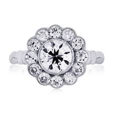 flower engagement rings platinum 1 15ct european cut diamond flower engagement ring