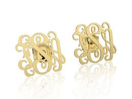 Gold Monogram Earrings 14k Gold Monogram Earrings Personalized Name Earrings Letter
