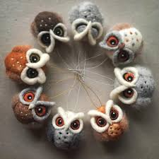 needle felted owl ornaments stuff i want to make