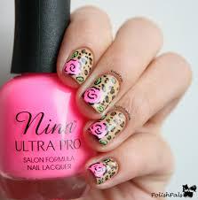 polish pals leopard rose nails tutorial