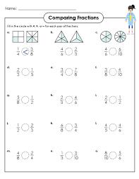 comparing fractions worksheets worksheets