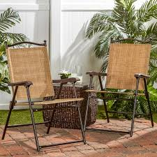 Sling Back Patio Chairs Sling Black Outdoor Chairs Bamboo Set Of 2 Walmart