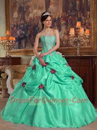 apple green ball gown strapless with taffeta beading and 3d flower