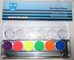 beauty junkie i e caby kryolan aquacolor day glow effects