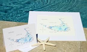 watercolor island map greeting cards nantucket
