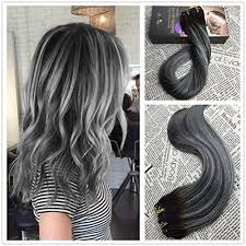 remy hair extensions 16 inch 100 remy hair balayage ombre color black 1b