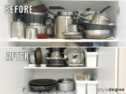 how to organize pots and pans in a cupboard how to organize pots pans in your kitchen cabinets style