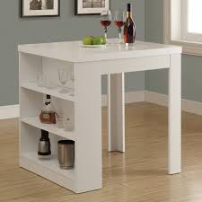monarch clayton white square counter height table with shelf