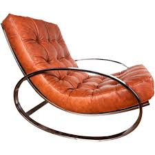 Rocker Armchair Leather And Chrome Rocking Chair By Milo Baughman Rocking Chairs