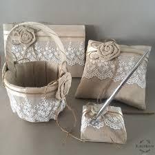 guest book pen 4pcs set wedding ring pillow lace linen diy decoration guest book