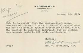 churchill got a doctor u0027s note requiring him to drink at least 8