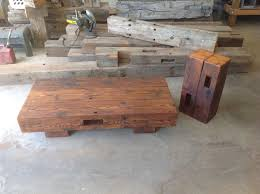 Handcrafted Wood Tables Reclaimed Barn Beam Coffee Table With Matching Accent Table