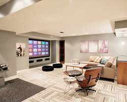 charming entertainment room in brown brown basement designs part