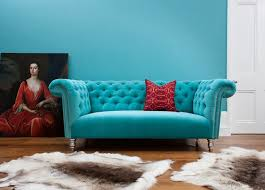 Velvet Armchair Sale Turquoise Velvet Chesterfield Sofa Fur Rugs Home Studio Decor