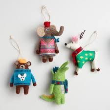 felt animal ornaments set of 4 world market