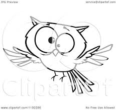cartoon black and white line art of a cross eyed owl flying