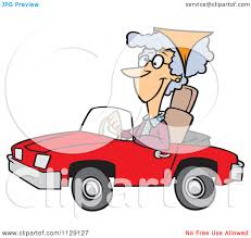 cartoon of an old lady driving a red convertible car royalty