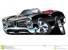 black convertible cars classic american muscle car cartoon illustration stock